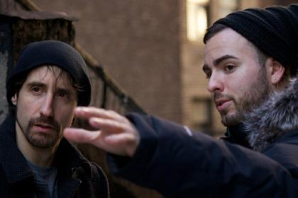 Adam giving direction to Don DiPaolo playing Mark during filming for Love and the Small Print