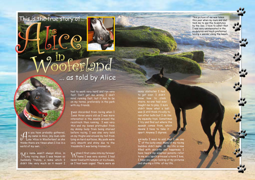 (This is the opening spread of Alice's story for the Dog Diary, My Human Family – 4 more spreads followed)