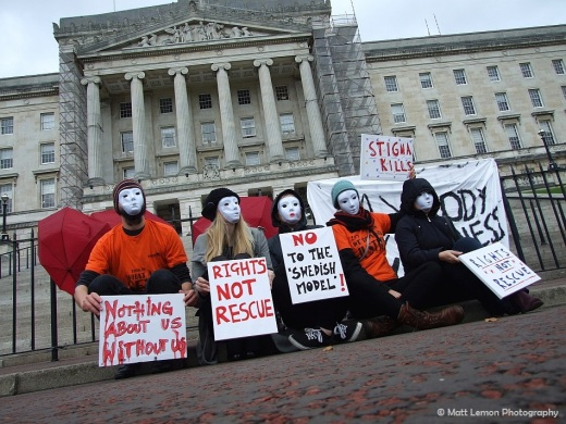 Sex workers and allies protest at Stormont. Photo: Matthias Lehmann/Matt Lemon Photography